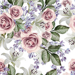 Bright watercolor seamless pattern with flowers lilies, roses and lilacs. illustrations