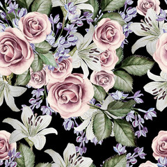 Photo sur Aluminium Fleurs Vintage Bright watercolor seamless pattern with flowers lilies, roses and lilacs. illustrations