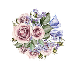 Beautiful watercolor bouquet of flowers roses, lilacs, eustomy. illustrations