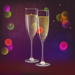 Glasses of champagne and streamer, 3D illustration. Champagne with bubbles in a wineglass with place for your text, yellow and red hearts like Inflatable balloons on dark background