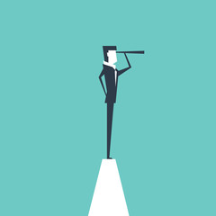 Businessman on the top peak with telescope Concept of business vision. vector