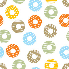 Donuts. Seamless pattern, polka dot fabric, wallpaper, vector.