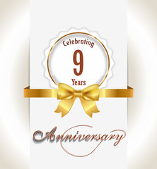 9th Anniversary background, 9 years celebration invitation card vector eps 10