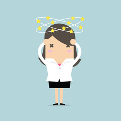 Businesswoman with stars spinning around his head. vector