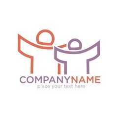 People outline vector icon for social company template