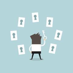 Businessman choosing the right keyhole, vector