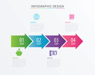 Infographics arrow number 4 step template. Vector Process chart background. Can be used for workflow layout, diagram, data, business options, banner, web design.