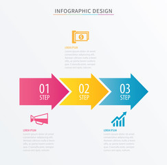 Infographics arrow number 3 step template. Vector Process chart background. Can be used for workflow layout, diagram, data, business options, banner, web design.