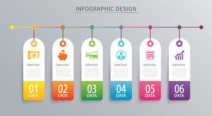 Infographics tag banner 6 option template. Vector illustration background. Can be used for workflow layout, data, business step, web design.