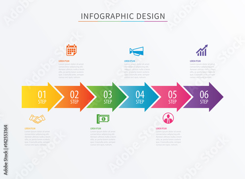 infographics arrow number 6 step template vector process chart