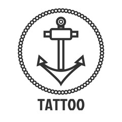 Tattoo master studio salon vector marine anchor icon template