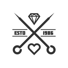 Tattoo master studio salon vector needle heart icon template