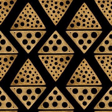 Hand drawn seamless pattern. Gold ethnic ornament, abstract geometric background.