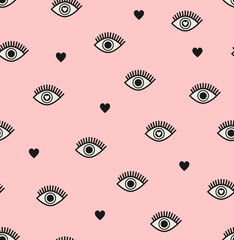 seamless pattern with hearts and eyes