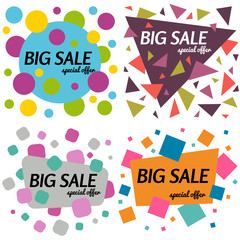 Set of big sale special offer square banners on white background.  Vector background with colorful design elements. Vector illustration.