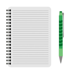 Vector notebook with a green pen on a white background