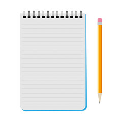 Vector notebook with a yellow pencil on a white background
