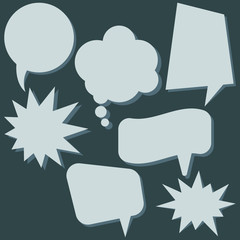 Set of speech bubbles without phrases on dark background. Vector illustration.