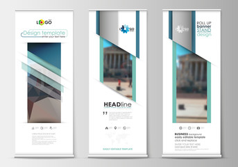 Set of roll up banner stands, flat templates, geometric style, business concept, corporate vertical flyers. Abstract background, blurred image, urban landscape, modern stylish vector.
