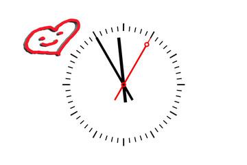 Uhr Ziffernblatt  zeigt die Uhrzeit 5 vor 12