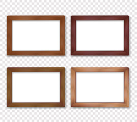 Wooden square vector photo frame collection