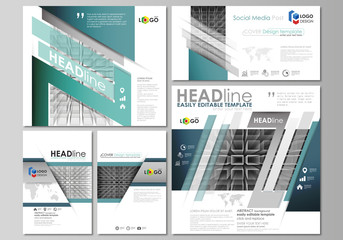 Social media posts set. Business templates. Vector layouts in popular formats. Abstract infinity background, 3d structure with rectangles forming illusion of depth and perspective.