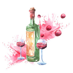 Red wine, a bottle, a wine glass. A composition of objects painted in watercolor. On white isolated background. Postcard, card, logo. Paint splashes.