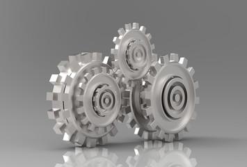 Gear metal wheels 3d illustrated