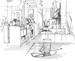 Sketch of a cafe