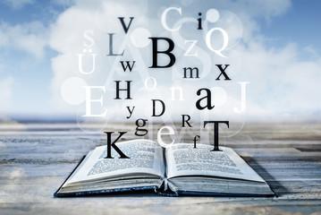 Buchstaben fliegen aus einem Buch am Meer - Fantasie beim Lesen