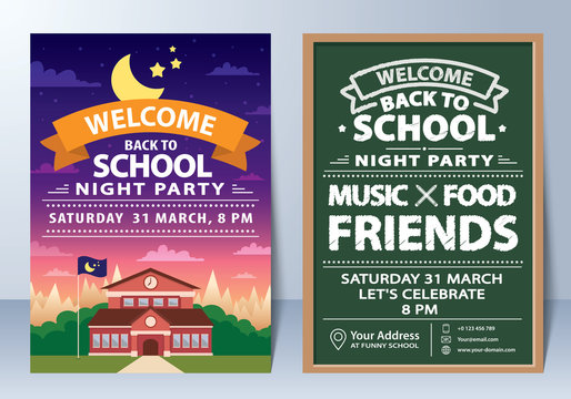Invitation of back to school night party template design.