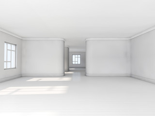 Empty white room with parquet floor, big window and sunlight from window, perspective view. 3D rendering