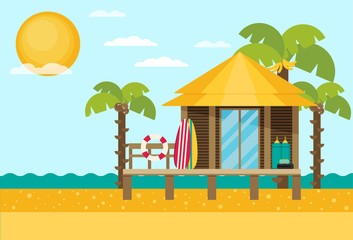 Bungalow flat vector