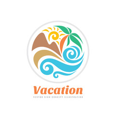 Summer travel vacation vector logo concept illustration in circle shape. Paradise beach color graphic sign. Sea resort, sun, mountains, palm tree and waves.