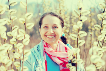 happy mature woman in spring