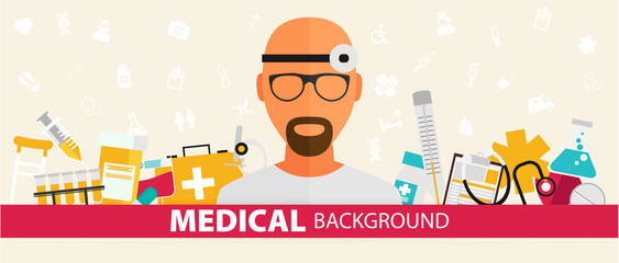 Medical flat sticker background concept. Vector illustration design