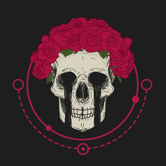 Hand draw сrying human skull with flower wreath in vintage hipster style. Vector illustration.