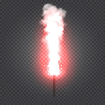 Realistic burning red flare with smoke and sparkles on transparent background. Vector illustration.