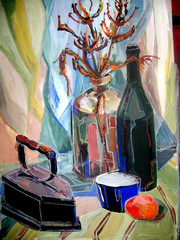 still life gouache color painting the bottle, glass