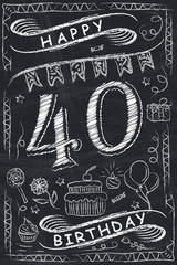 Anniversary Happy Birthday Card Design on Chalkboard. 40 Years