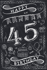 Anniversary Happy Birthday Card Design on Chalkboard. 45 Years