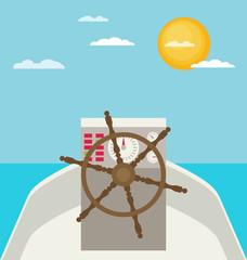 Captain's wheel on boat flat illustration