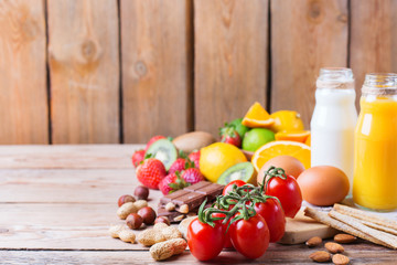 Selection of allergy food, healthy life concept