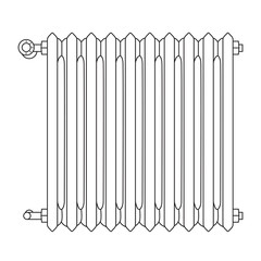 Home radiator line drawing with numbered heat levels