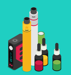 Isometric Icon of Vape device set. Flat vector.