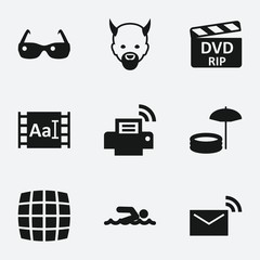 Set of 9 image filled icons