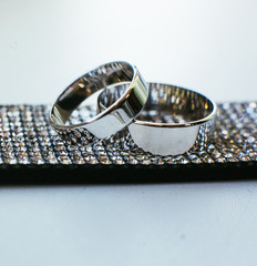 The wedding rings for bride and groom