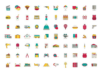 Set of vector icons. Flat design.