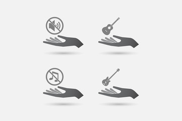 Set of hands in giving position with  sound and music related icons