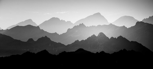 A beautiful, abstract monochrome mountain landscape. Decorative, artistic look in black and white...